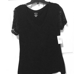 Torrid black shirt with lace sleeves